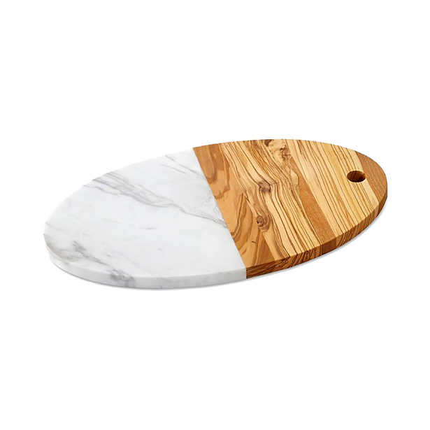 Tabla Para Queso Olivewood & White Marble